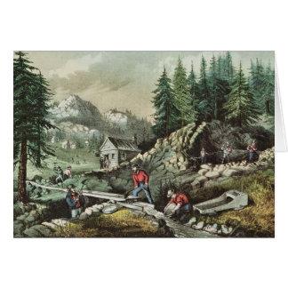Goldmining in California, 1871 Card