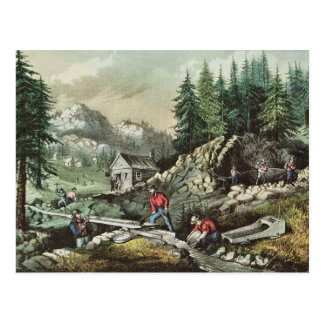 Goldmining in California, 1871 Postcard