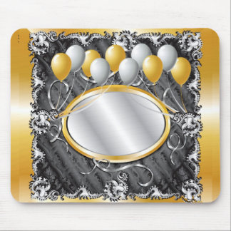 GoldSilvBalloonBackground Mouse Pad