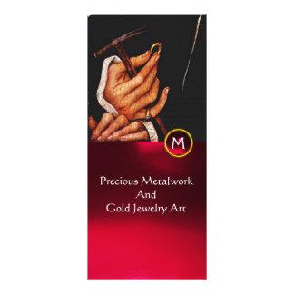 GOLDSMITH,PRECIOUS METALWORKER,GOLD JEWELRY ART RACK CARD DESIGN