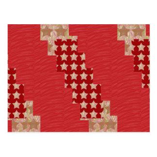 GOLDSTAR Constellation on Silky Red Fabric Pattern Postcards