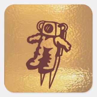 Goldstar, estrella, órbita, robot: Joshino Gozzlo Pegatina Cuadrada