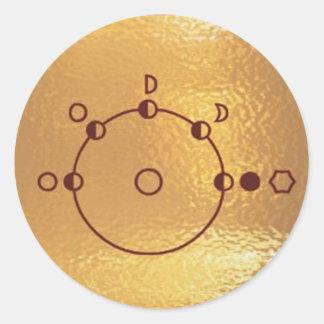 Goldstar, estrella, órbita, robot: Joshino Gozzlo Pegatina Redonda