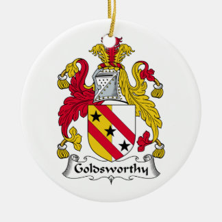 Goldsworthy Family Crest Double-Sided Ceramic Round Christmas Ornament