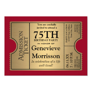 Goldven Ticket Style 75th Birthday Party Invite