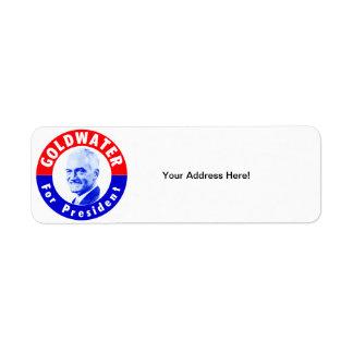 Goldwater 1964 para el presidente etiqueta de remite