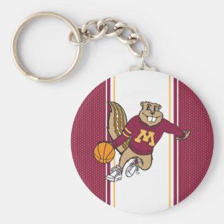 Goldy Gopher Basketball Keychain