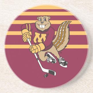 Goldy Gopher Hockey Drink Coaster