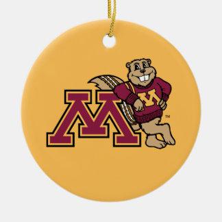 Goldy Gopher & Minnesota M Ceramic Ornament