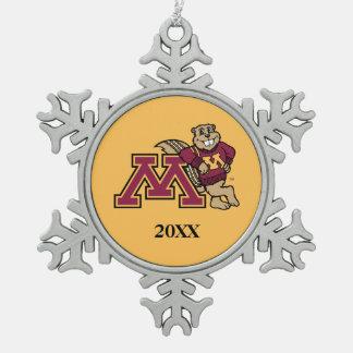 Goldy Gopher & Minnesota M Snowflake Pewter Christmas Ornament