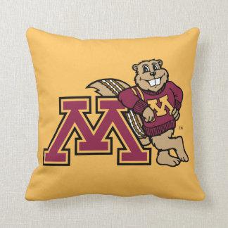 Goldy Gopher & Minnesota M Throw Pillow
