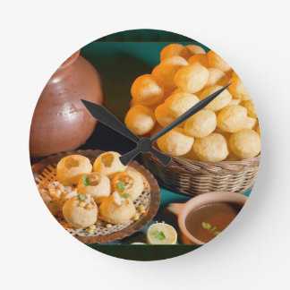 GOLE GAPPAY Panni Puri Indian Cuisine Snack Round Clock