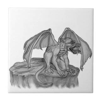GOLEM - diseño blanco y negro del Gargoyle Azulejo Cuadrado Pequeño