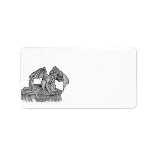 GOLEM - Gargoyle black-and-white Design Address Label