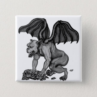 GOLEM - Gargoyle black and white Design Button