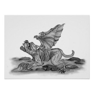 GOLEM - Gargoyle black-and-white Design Poster