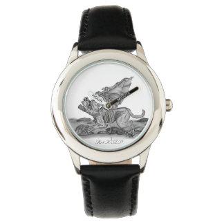 Golem Gargoyle, Black and white design Wristwatch