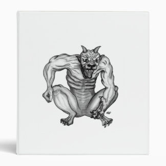 Golem Gargoyle black white design 3 Ring Binder