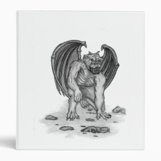Golem Gargoyle black - white design 3 Ring Binder
