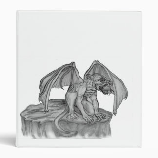 Golem Gargoyle black white design Binder