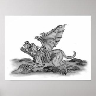 Golem - Gargoyle design en blanco y negro Impresiones