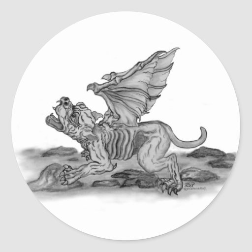 Golem Gargoyle Runder Sticker