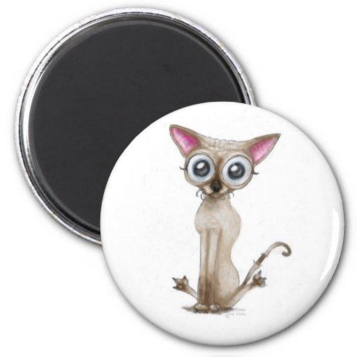 Golemn The Cat (Selkirk Rex) 2 Inch Round Magnet