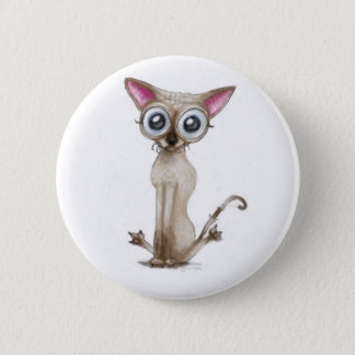 Golemn The Cat (Selkirk Rex) Pinback Button