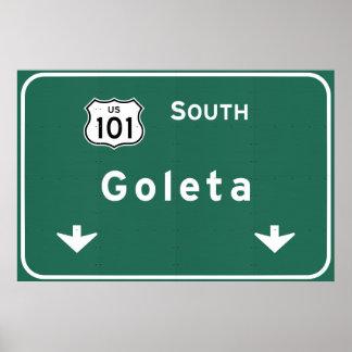 Goleta California US-101 South Interstate - Poster