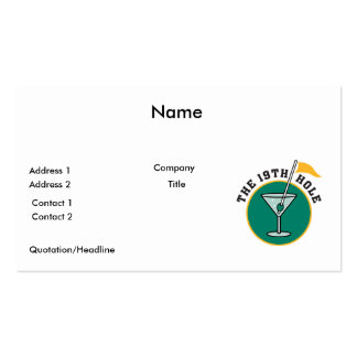 golf 19th hole drink time humor business card templates