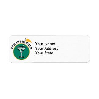 golf 19th hole drink time humor custom return address label
