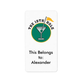 golf 19th hole drink time humor address label