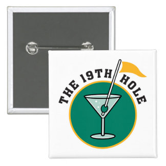 golf 19th hole drink time humor pinback button