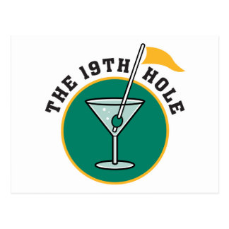 golf 19th hole drink time humor post card