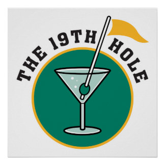 golf 19th hole drink time humor poster