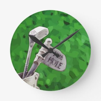 Golf 19th hole nineteen hole with flag on green round clock
