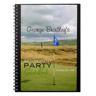 Golf 1 Personalized Retirement Party Guest Book Spiral Notebook