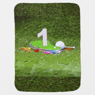 Golf 1st birthday with number one and golf ball baby blanket