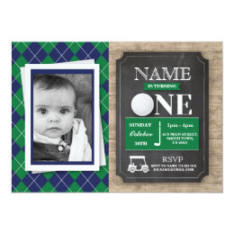 Golf birthday invitations announcements zazzle golf 1st first one 1 birthday party photo invite filmwisefo Choice Image