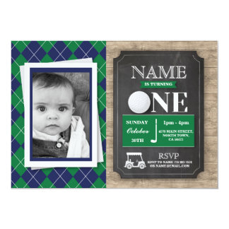 Golf 1st First One 1 Birthday Party Photo Invite