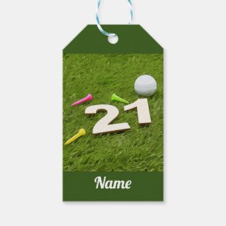 Golf 21st Birthday Party Golfer Golf ball and tee Gift Tags