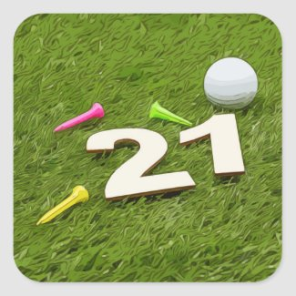 Golf 21st Birthday Party Golfer Golf ball and tee Square Sticker