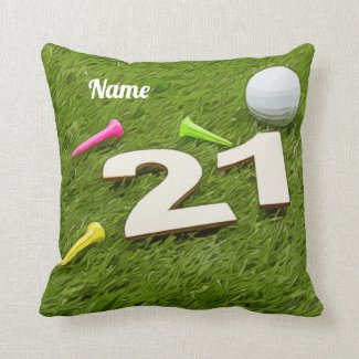 Golf 21st Birthday Party Golfer Golf ball and tee Throw Pillow