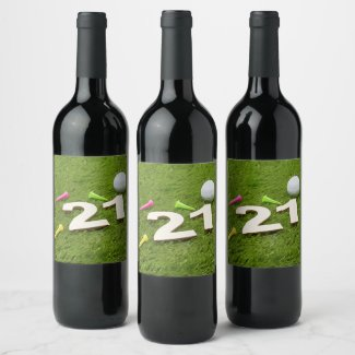 Golf 21st Birthday Party Golfer Golf ball and tee Wine Label