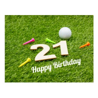 Golf 21st birthday with golf ball and tee on green postcard