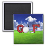 Golf 2 Inch Square Magnet