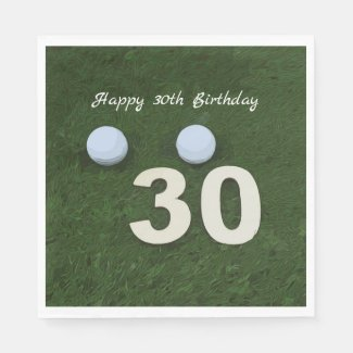 Golf 30th Birthday Anniversary with golf ball Napkins
