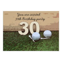 Golf 30th Birthday golf ball and tee on green Invitation