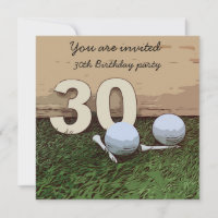 Golf 30th Birthday golf ball and tee on green Post Card