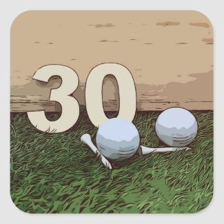 Golf 30th Birthday  golf ball and tee on green Square Sticker